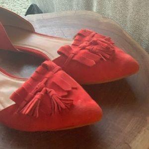J Crew Red Tasseled Flats - size 6